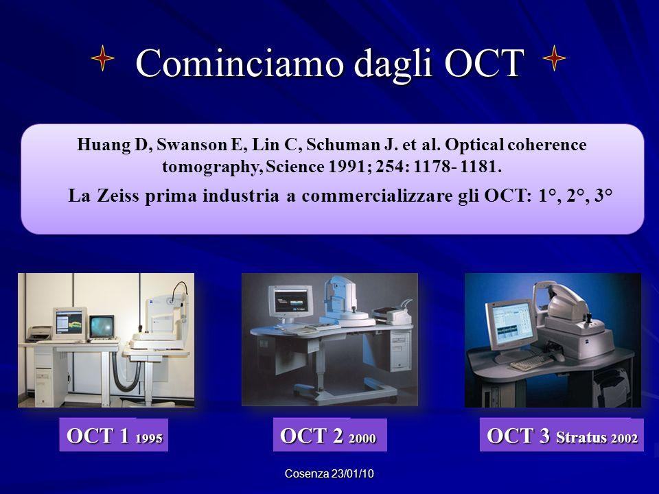 Cominciamo dagli OCT Cosenza 23/01/10 Huang D, Swanson E, Lin C, Schuman J. et al. Optical coherence tomography, Science 1991; 254: 1178- 1181. La Zei