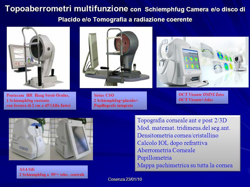 Topoaberrometri multifunzione con Schiemphfug Camera e/o disco di Placido e/o Tomografia a radiazione coerente Cosenza 23/01/10 Pentacam HR Haag Strei