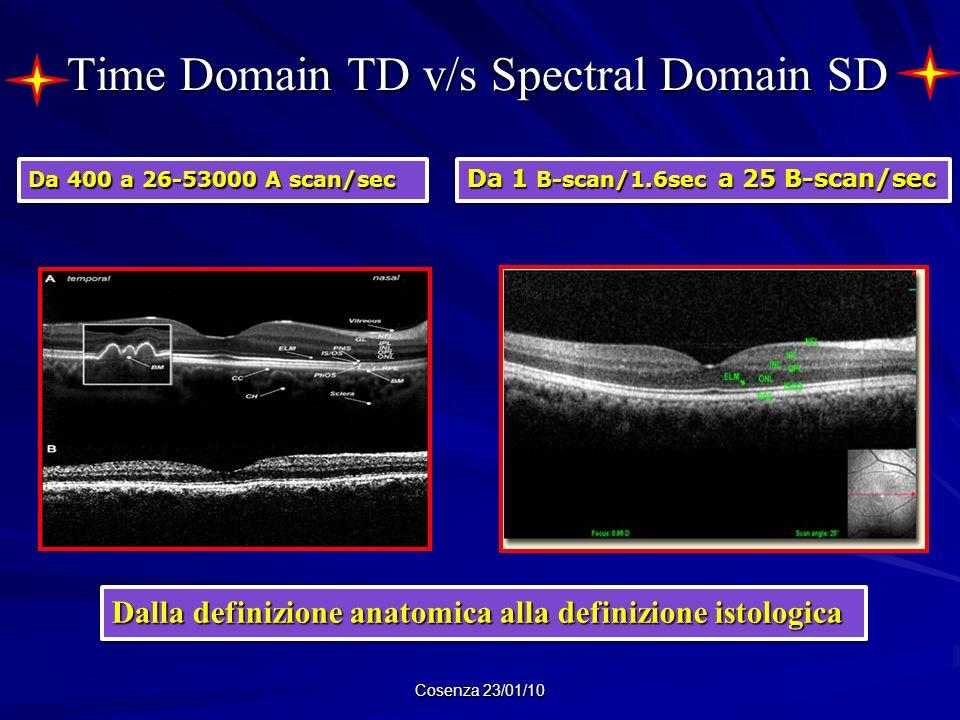 Time Domain TD v/s Spectral Domain SD Cosenza 23/01/10 Dalla definizione anatomica alla definizione istologica Da 400 a 26-53000 A scan/sec Da 1 B-sca