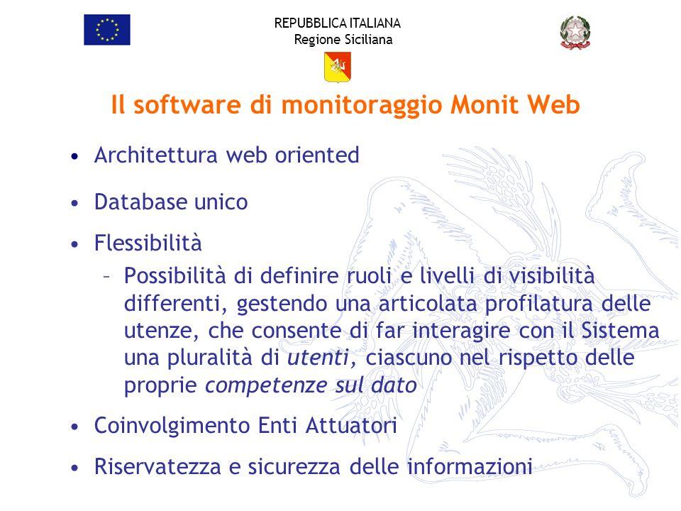 REPUBBLICA ITALIANA Regione Siciliana Il software di monitoraggio Monit Web Architettura web oriented Database unico Flessibilità –Possibilità di defi