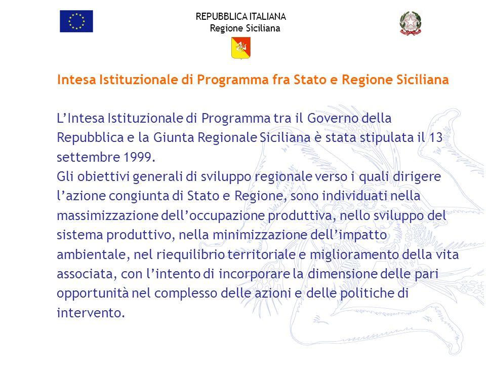 REPUBBLICA ITALIANA Regione Siciliana LIntesa Istituzionale di Programma tra il Governo della Repubblica e la Giunta Regionale Siciliana è stata stipu