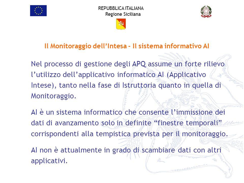 REPUBBLICA ITALIANA Regione Siciliana Il Monitoraggio dellIntesa - Il sistema informativo AI Nel processo di gestione degli APQ assume un forte riliev