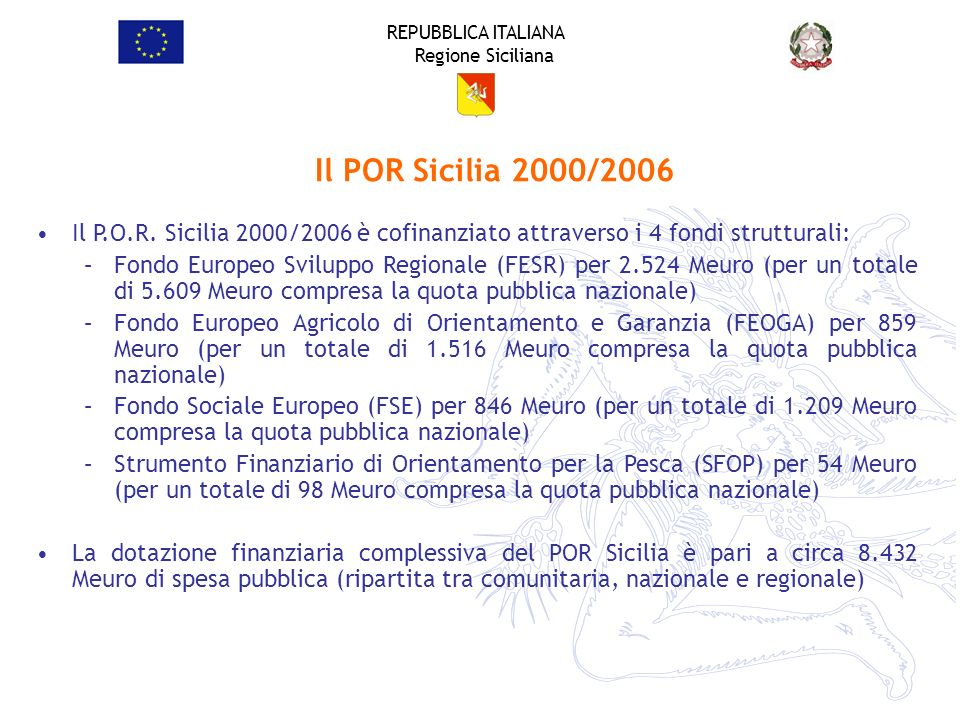 REPUBBLICA ITALIANA Regione Siciliana Il P.O.R. Sicilia 2000/2006 è cofinanziato attraverso i 4 fondi strutturali: –Fondo Europeo Sviluppo Regionale (