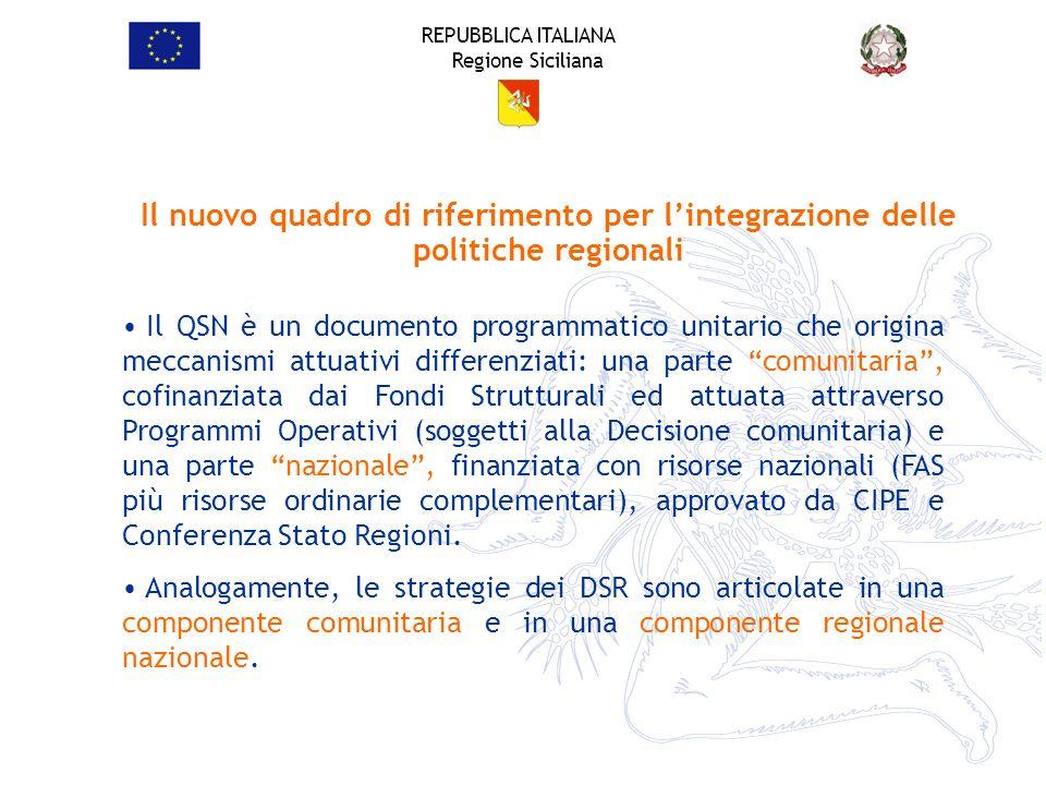 REPUBBLICA ITALIANA Regione Siciliana Il QSN è un documento programmatico unitario che origina meccanismi attuativi differenziati: una parte comunitar