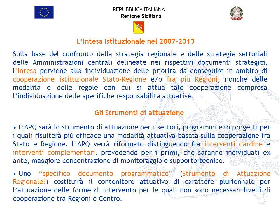 REPUBBLICA ITALIANA Regione Siciliana LIntesa Istituzionale nel 2007-2013 Sulla base del confronto della strategia regionale e delle strategie settori