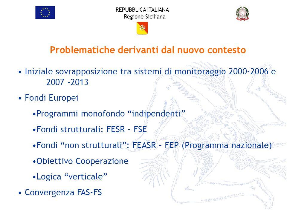 REPUBBLICA ITALIANA Regione Siciliana Problematiche derivanti dal nuovo contesto Iniziale sovrapposizione tra sistemi di monitoraggio 2000-2006 e 2007