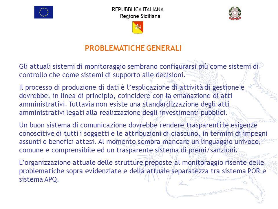 REPUBBLICA ITALIANA Regione Siciliana PROBLEMATICHE GENERALI Gli attuali sistemi di monitoraggio sembrano configurarsi più come sistemi di controllo c