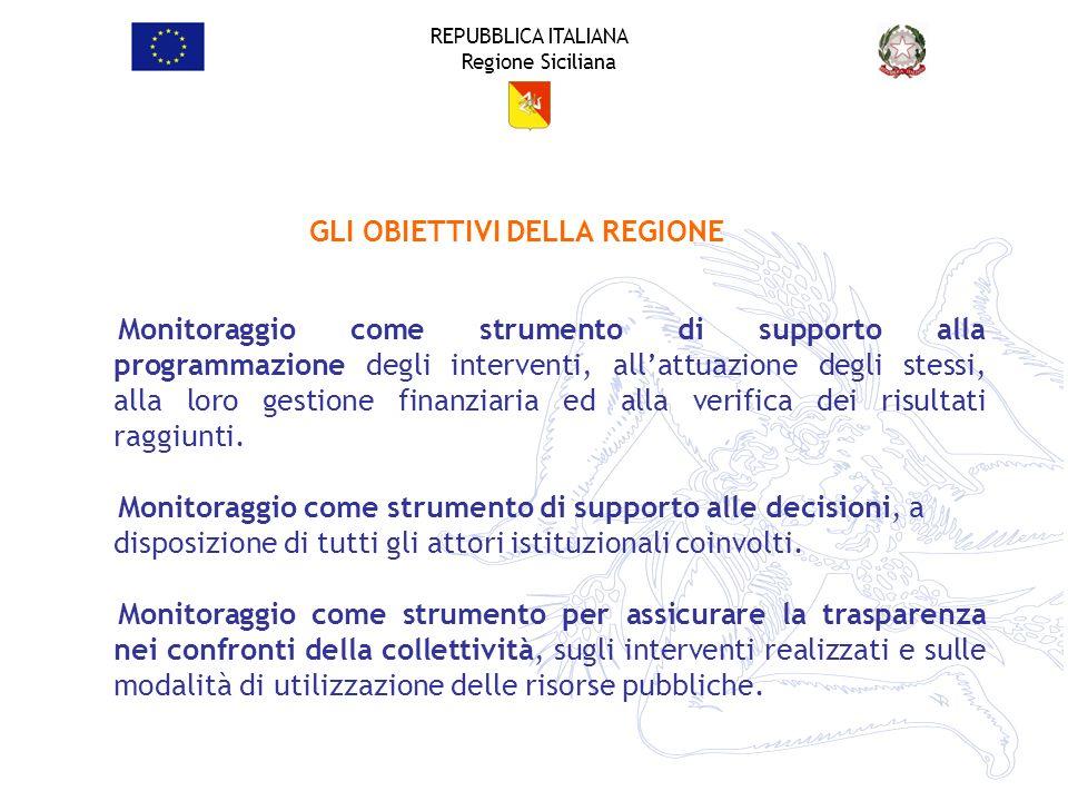 REPUBBLICA ITALIANA Regione Siciliana Monitoraggio come strumento di supporto alla programmazione degli interventi, allattuazione degli stessi, alla l