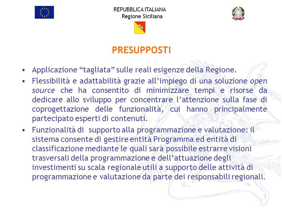 REPUBBLICA ITALIANA Regione Siciliana Applicazione tagliata sulle reali esigenze della Regione. Flessibilità e adattabilità grazie allimpiego di una s
