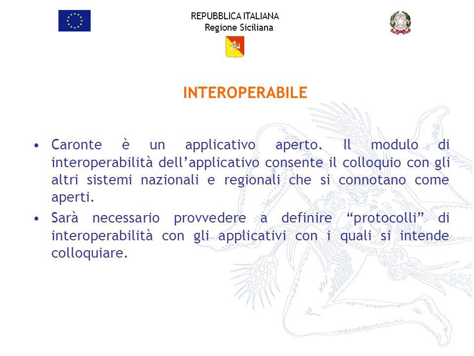 REPUBBLICA ITALIANA Regione Siciliana Caronte è un applicativo aperto. Il modulo di interoperabilità dellapplicativo consente il colloquio con gli alt
