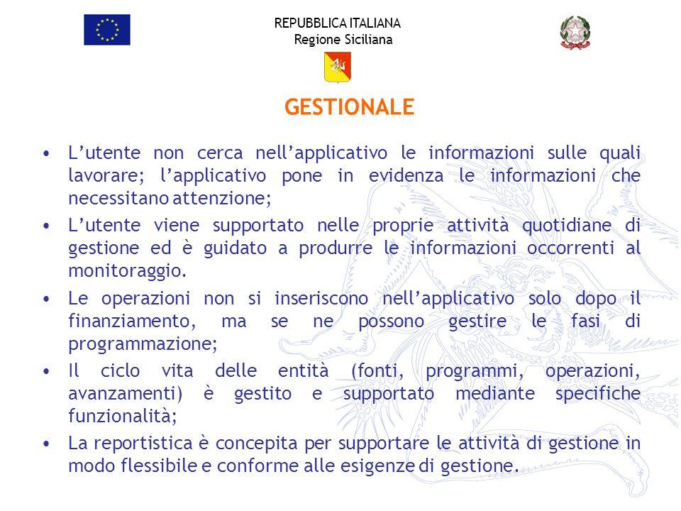 REPUBBLICA ITALIANA Regione Siciliana Lutente non cerca nellapplicativo le informazioni sulle quali lavorare; lapplicativo pone in evidenza le informa