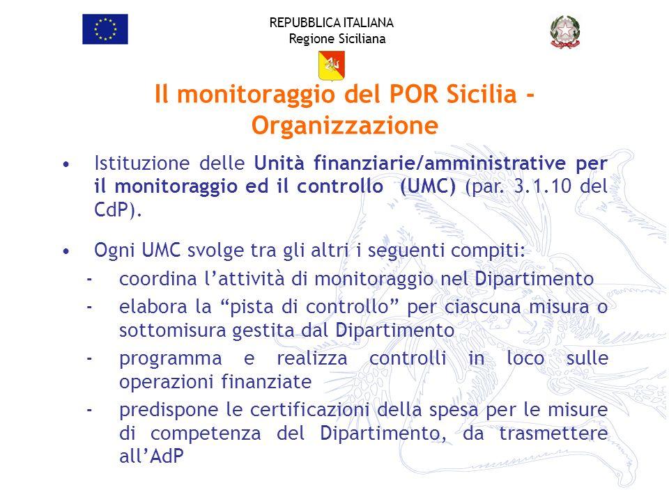 REPUBBLICA ITALIANA Regione Siciliana Il monitoraggio del POR Sicilia - Organizzazione Istituzione delle Unità finanziarie/amministrative per il monit