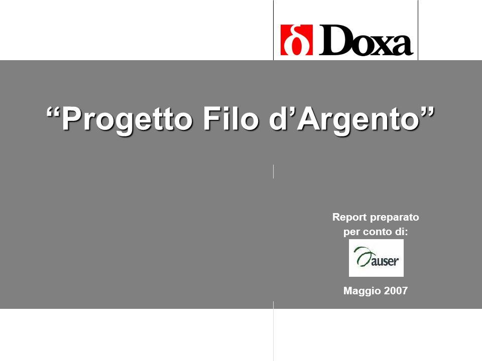 Progetto Filo dArgento Fase qualitativa Giugno 2006 Report preparato per conto di: Maggio 2007