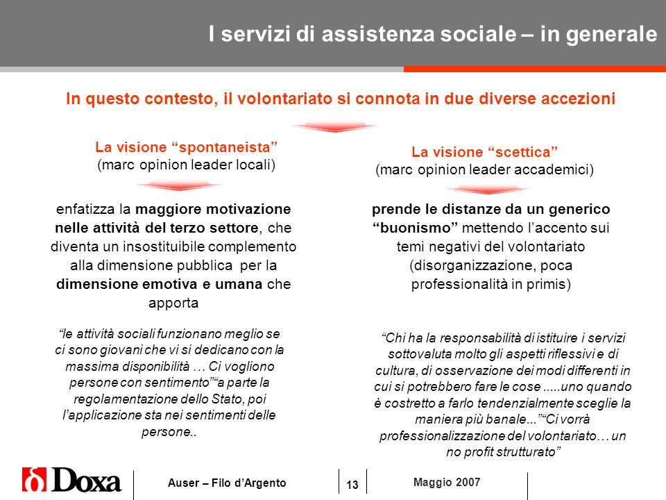 13 Maggio 2007 Auser – Filo dArgento I servizi di assistenza sociale – in generale In questo contesto, il volontariato si connota in due diverse accez