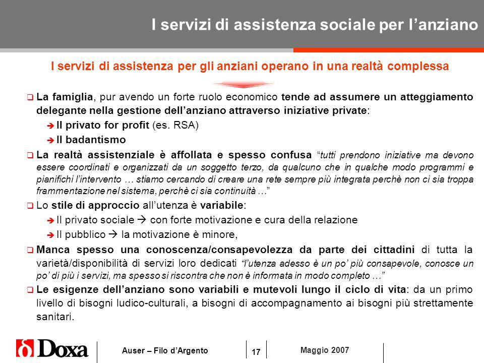 17 Maggio 2007 Auser – Filo dArgento I servizi di assistenza sociale per lanziano I servizi di assistenza per gli anziani operano in una realtà comple