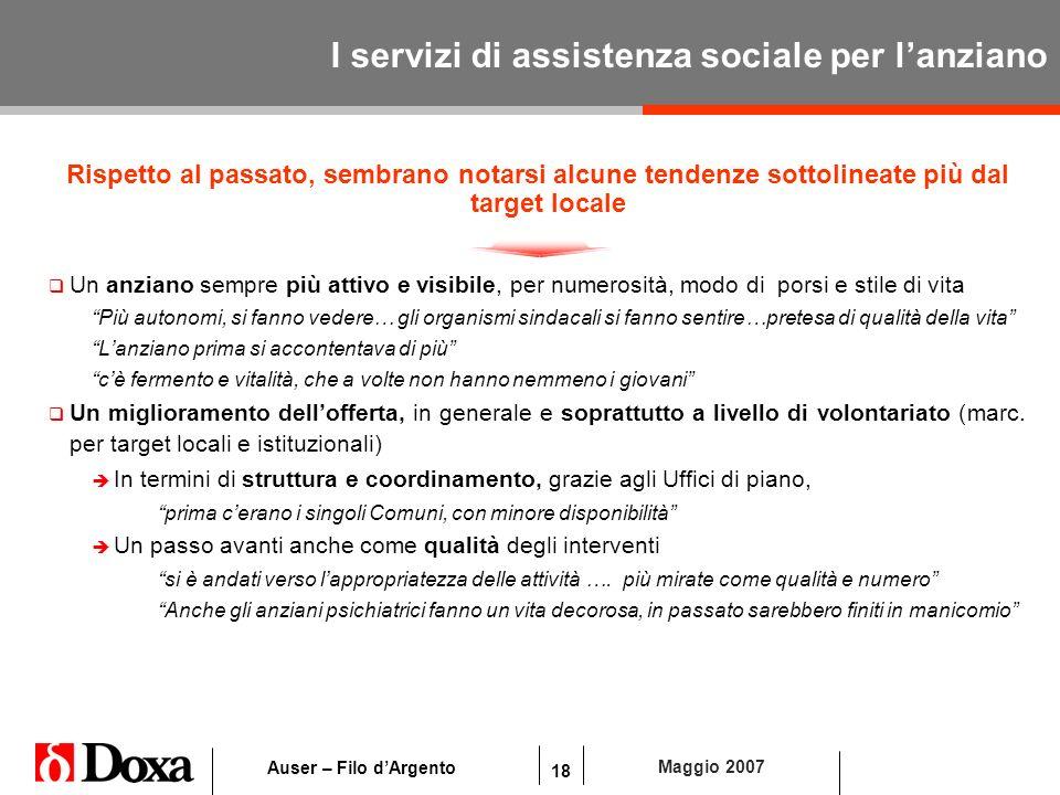 18 Maggio 2007 Auser – Filo dArgento I servizi di assistenza sociale per lanziano Rispetto al passato, sembrano notarsi alcune tendenze sottolineate p