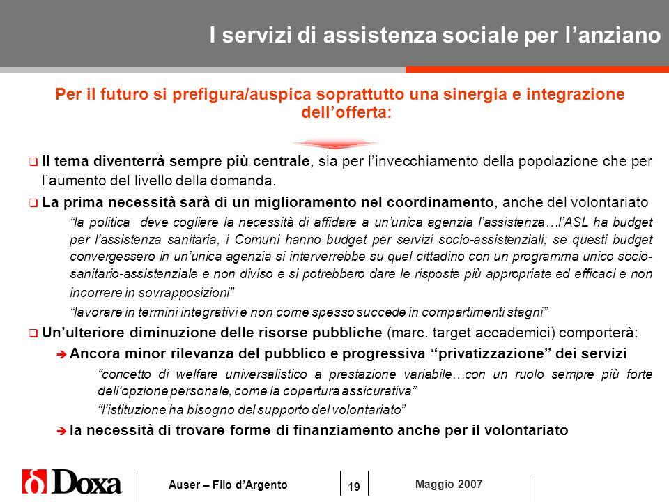 19 Maggio 2007 Auser – Filo dArgento I servizi di assistenza sociale per lanziano Per il futuro si prefigura/auspica soprattutto una sinergia e integr