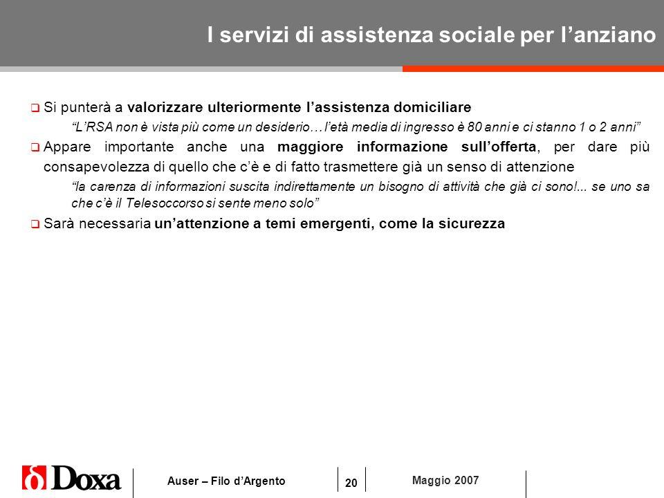 20 Maggio 2007 Auser – Filo dArgento I servizi di assistenza sociale per lanziano Si punterà a valorizzare ulteriormente lassistenza domiciliare LRSA