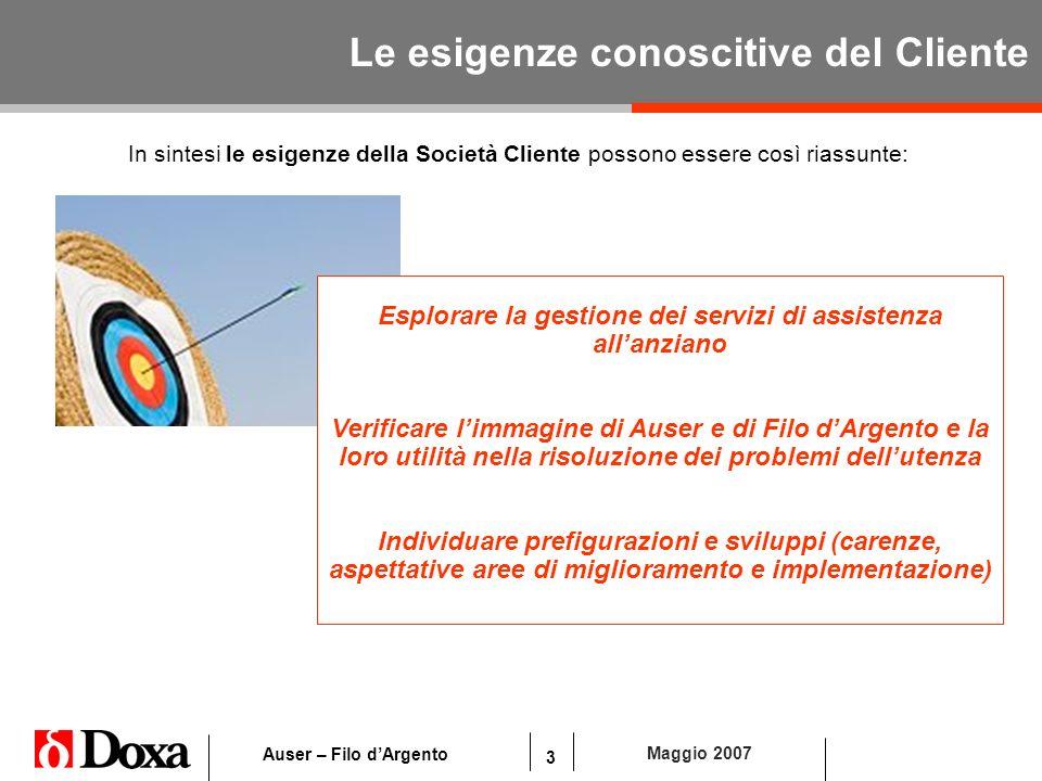 3 Maggio 2007 Auser – Filo dArgento Le esigenze conoscitive del Cliente In sintesi le esigenze della Società Cliente possono essere così riassunte: Es