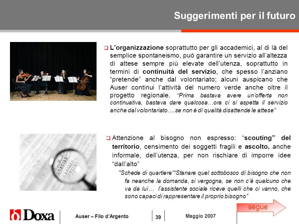 39 Maggio 2007 Auser – Filo dArgento Suggerimenti per il futuro Lorganizzazione soprattutto per gli accademici, al di là del semplice spontaneismo, pu