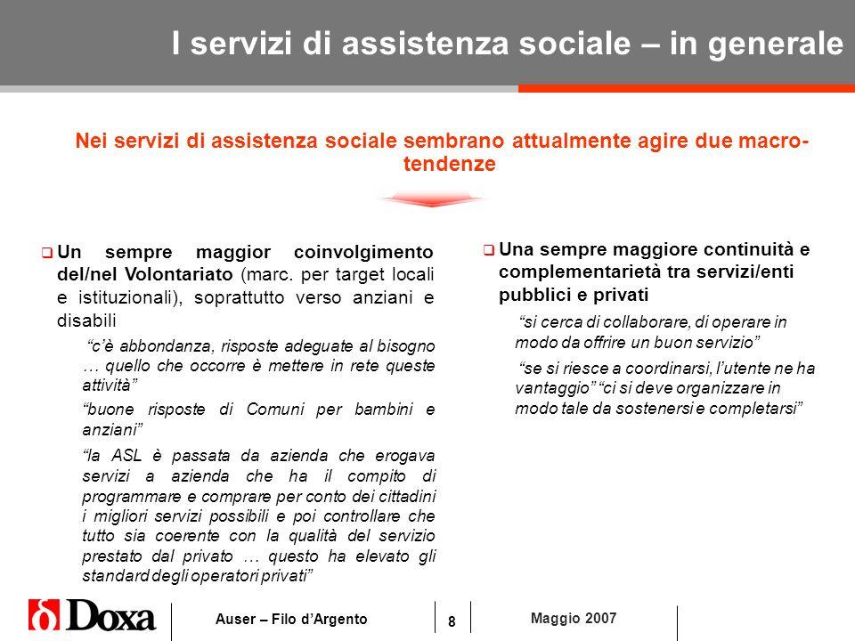 8 Maggio 2007 Auser – Filo dArgento I servizi di assistenza sociale – in generale Nei servizi di assistenza sociale sembrano attualmente agire due mac