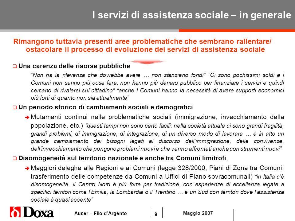 9 Maggio 2007 Auser – Filo dArgento I servizi di assistenza sociale – in generale Una carenza delle risorse pubbliche Non ha la rilevanza che dovrebbe