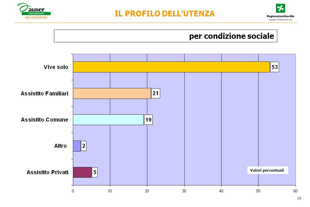 per condizione sociale 19 IL PROFILO DELLUTENZA Valori percentuali