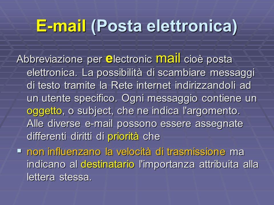 E-mail (Posta elettronica) Abbreviazione per e lectronic mail cioè posta elettronica.