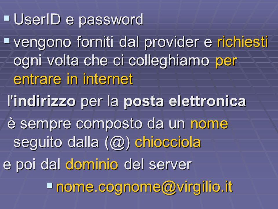 UserID e password UserID e password vengono forniti dal provider e richiesti ogni volta che ci colleghiamo per entrare in internet vengono forniti dal provider e richiesti ogni volta che ci colleghiamo per entrare in internet l indirizzo per la posta elettronica l indirizzo per la posta elettronica è sempre composto da un nome seguito dalla (@) chiocciola è sempre composto da un nome seguito dalla (@) chiocciola e poi dal dominio del server nome.cognome@virgilio.it nome.cognome@virgilio.it