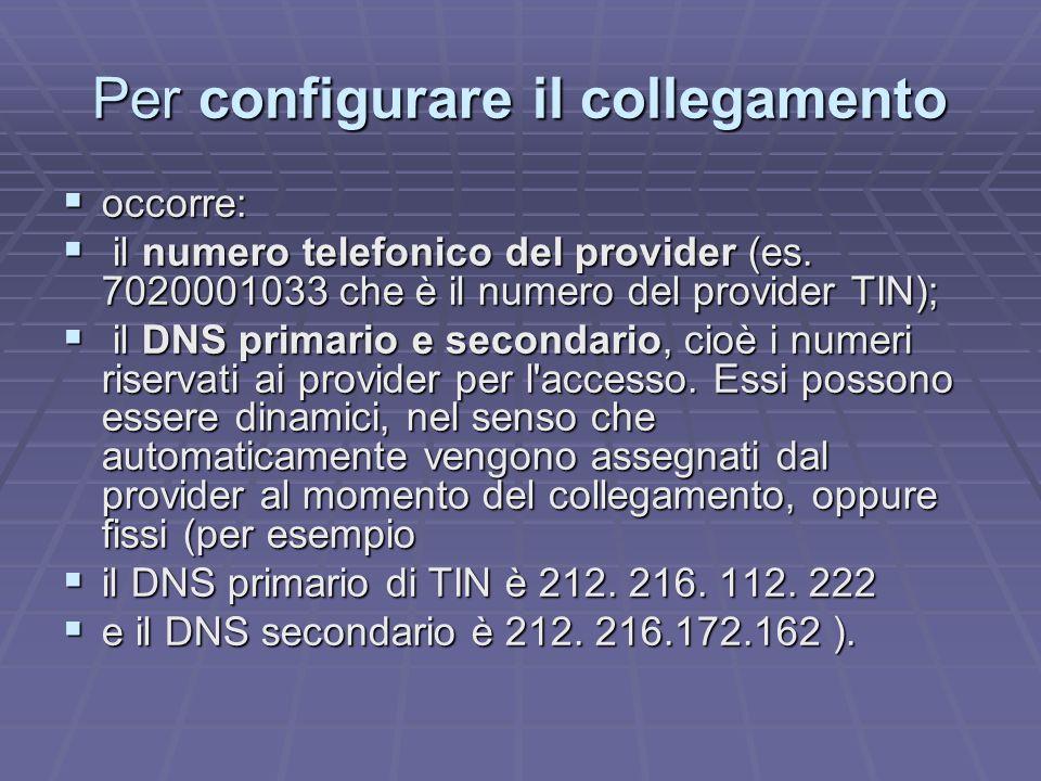 Per configurare il collegamento occorre: occorre: il numero telefonico del provider (es.