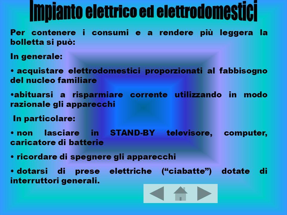 Per contenere i consumi e a rendere più leggera la bolletta si può: In generale: acquistare elettrodomestici proporzionati al fabbisogno del nucleo fa