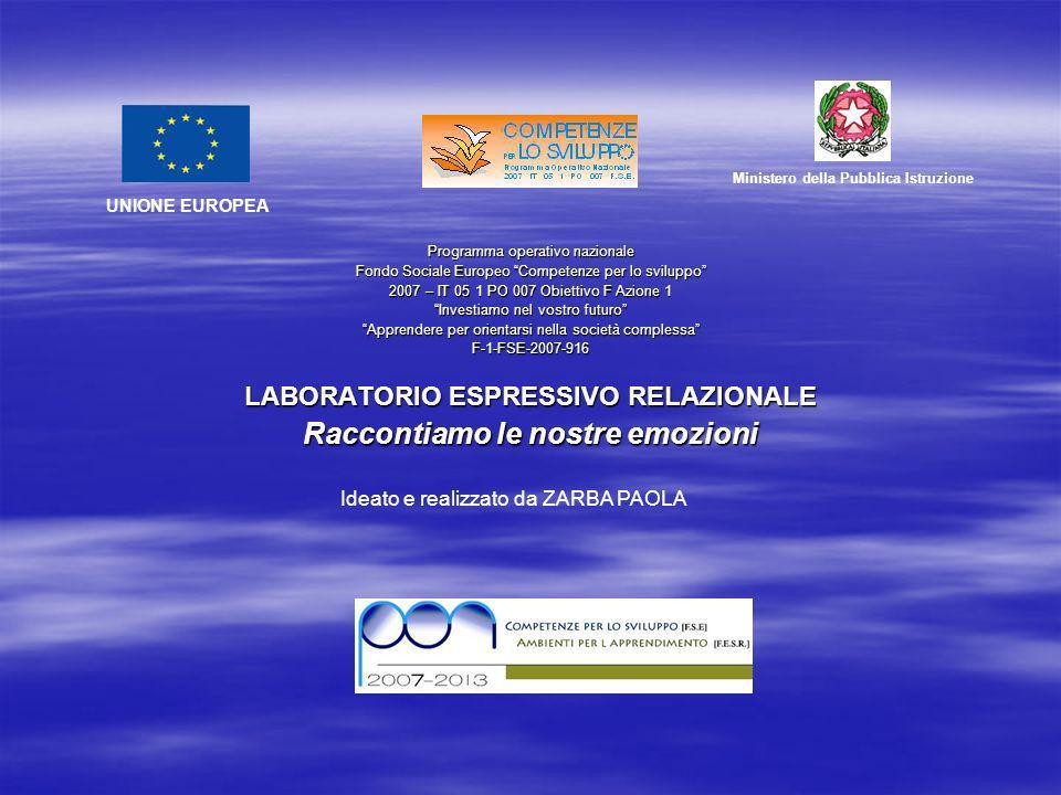 Programma operativo nazionale Fondo Sociale Europeo Competenze per lo sviluppo 2007 – IT 05 1 PO 007 Obiettivo F Azione 1 Investiamo nel vostro futuro Apprendere per orientarsi nella società complessa F-1-FSE-2007-916 LABORATORIO ESPRESSIVO RELAZIONALE Raccontiamo le nostre emozioni UNIONE EUROPEA Ministero della Pubblica Istruzione Ideato e realizzato da ZARBA PAOLA