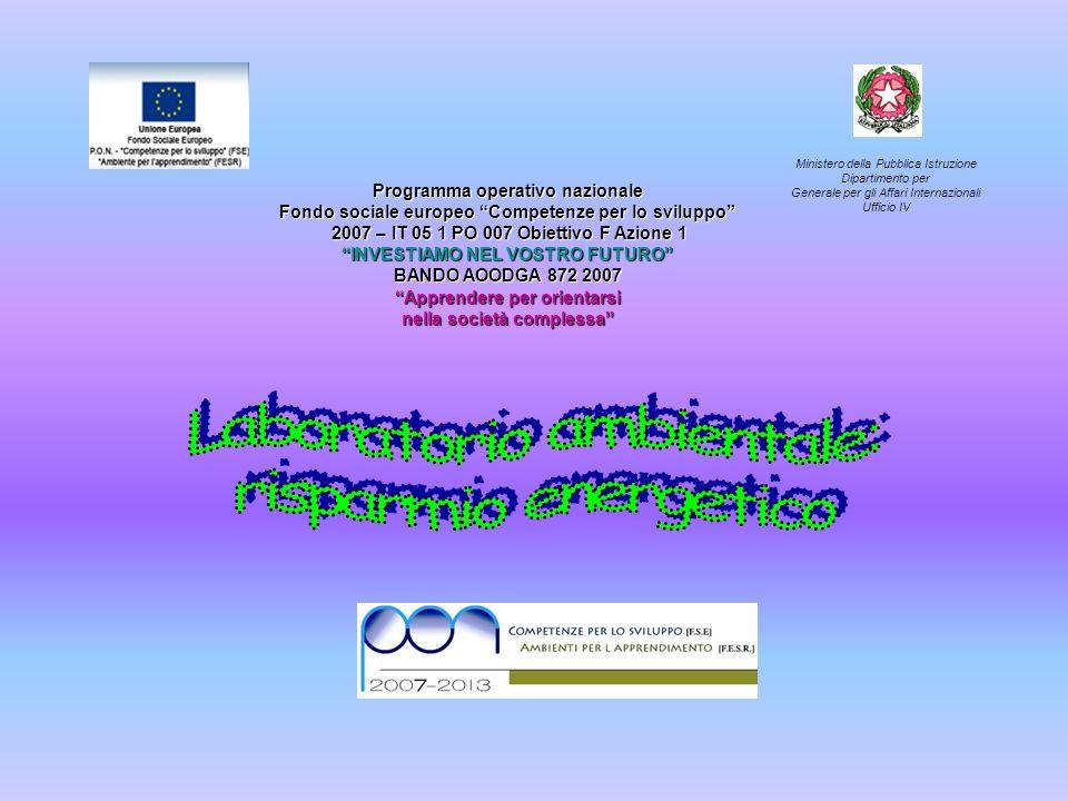 Programma operativo nazionale Fondo sociale europeo Competenze per lo sviluppo 2007 – IT 05 1 PO 007 Obiettivo F Azione 1 2007 – IT 05 1 PO 007 Obiettivo F Azione 1 INVESTIAMO NEL VOSTRO FUTURO BANDO AOODGA 872 2007 Apprendere per orientarsi nella società complessa Ministero della Pubblica Istruzione Dipartimento per Generale per gli Affari Internazionali Ufficio IV