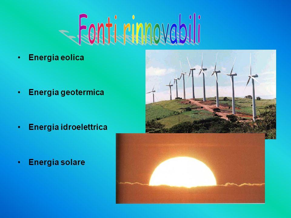 Energia eolica Energia geotermica Energia idroelettrica Energia solare