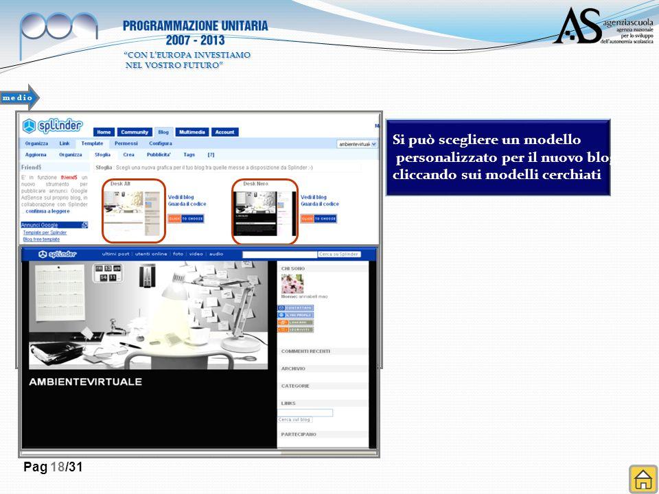 Pag 18/31 Si può scegliere un modello personalizzato per il nuovo blog cliccando sui modelli cerchiati m e d i o CON LEUROPA INVESTIAMO NEL VOSTRO FUT