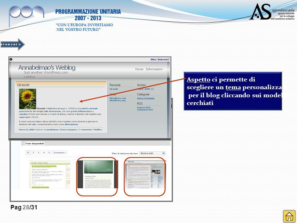 Pag 28/31 Aspetto ci permette di scegliere un tema personalizzato per il blog cliccando sui modelli cerchiati a v a n z a t o CON LEUROPA INVESTIAMO NEL VOSTRO FUTURO NEL VOSTRO FUTURO