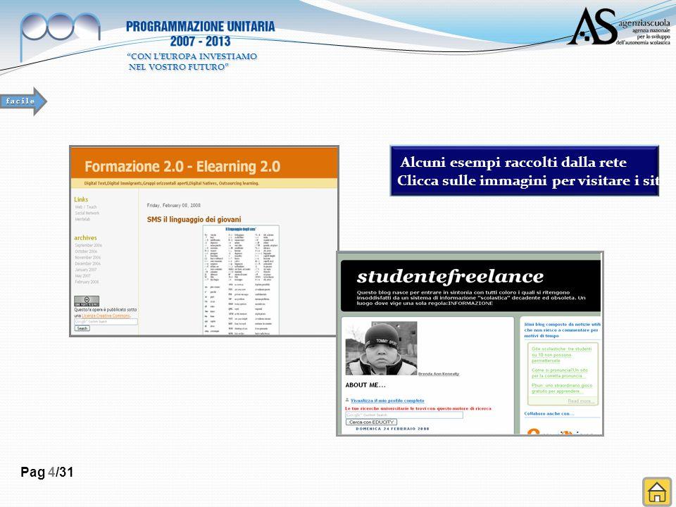 Pag 4/31 Alcuni esempi raccolti dalla rete Clicca sulle immagini per visitare i siti f a c i l e CON LEUROPA INVESTIAMO NEL VOSTRO FUTURO NEL VOSTRO FUTURO