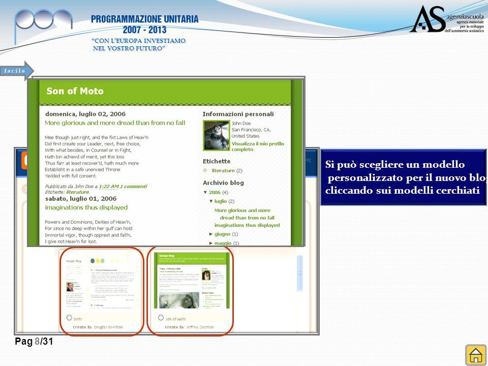 Si può scegliere un modello personalizzato per il nuovo blog cliccando sui modelli cerchiati Pag 8/31 f a c i l e CON LEUROPA INVESTIAMO NEL VOSTRO FU