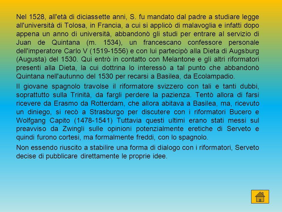 Nel 1528, all'età di diciassette anni, S. fu mandato dal padre a studiare legge all'università di Tolosa, in Francia, a cui si applicò di malavoglia e