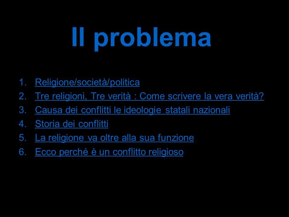 Il problema 1.Religione/società/politicaReligione/società/politica 2.Tre religioni, Tre verità : Come scrivere la vera verità?Tre religioni, Tre verità : Come scrivere la vera verità.