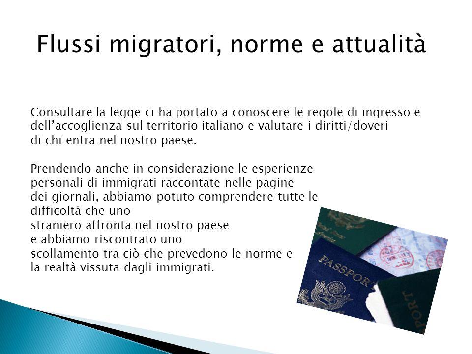 Flussi migratori, norme e attualità Consultare la legge ci ha portato a conoscere le regole di ingresso e dellaccoglienza sul territorio italiano e va
