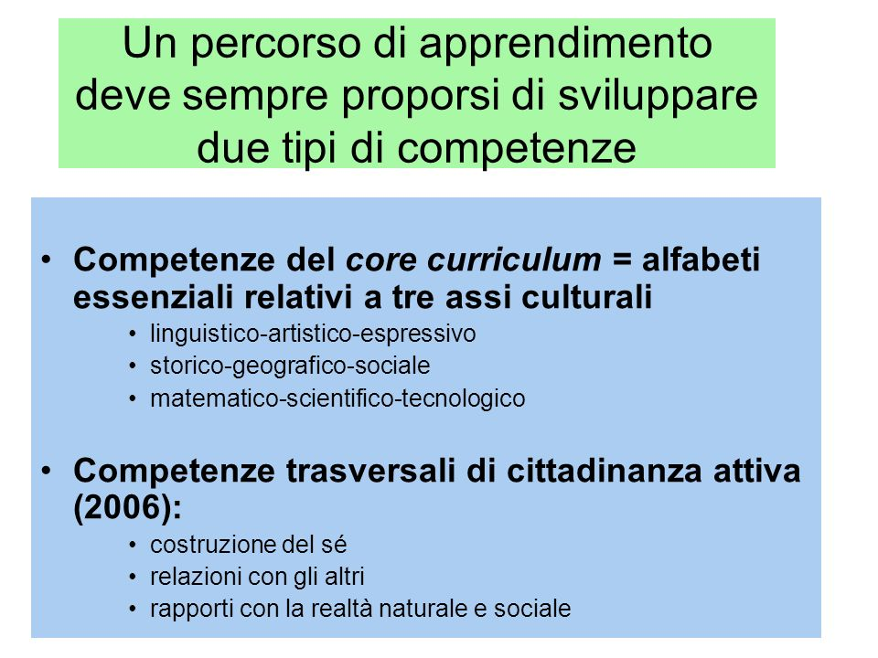 Un percorso di apprendimento deve sempre proporsi di sviluppare due tipi di competenze Competenze del core curriculum = alfabeti essenziali relativi a