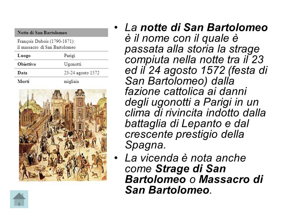 La notte di San Bartolomeo è il nome con il quale è passata alla storia la strage compiuta nella notte tra il 23 ed il 24 agosto 1572 (festa di San Ba