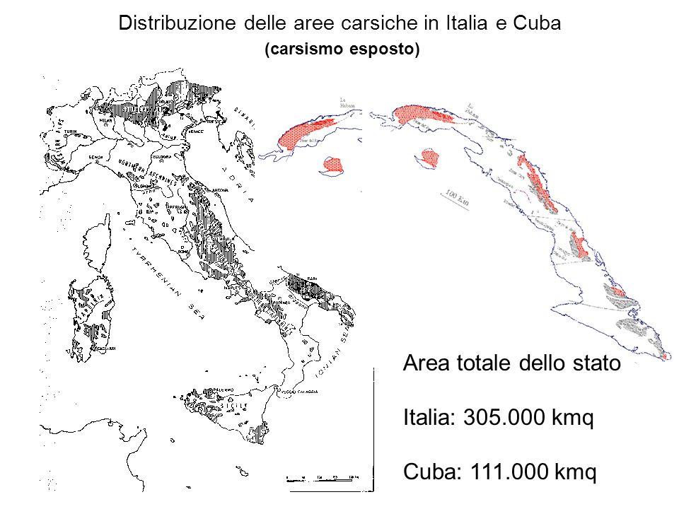 Distribuzione delle aree carsiche in Italia e Cuba (carsismo esposto) Area totale dello stato Italia: 305.000 kmq Cuba: 111.000 kmq