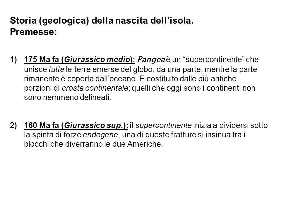Storia (geologica) della nascita dellisola. Premesse: 1)175 Ma fa (Giurassico medio): Pangea è un supercontinente che unisce tutte le terre emerse del