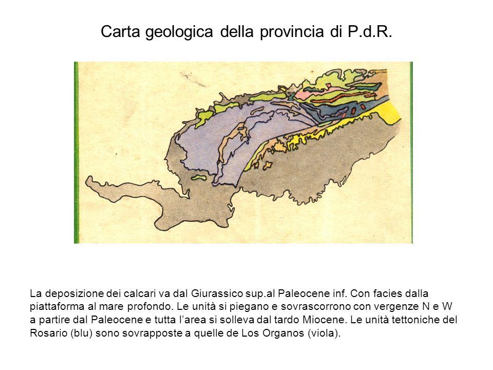 Carta geologica della provincia di P.d.R. La deposizione dei calcari va dal Giurassico sup.al Paleocene inf. Con facies dalla piattaforma al mare prof