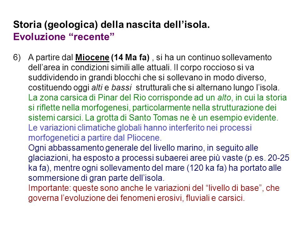 Storia (geologica) della nascita dellisola. Evoluzione recente 6)A partire dal Miocene (14 Ma fa), si ha un continuo sollevamento dellarea in condizio