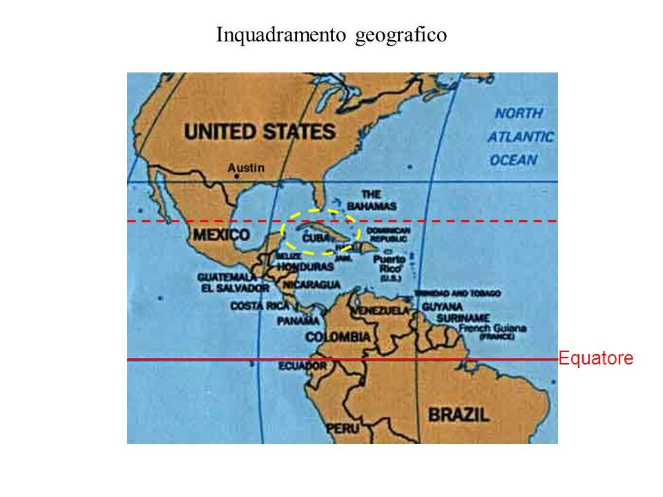 Inquadramento geografico Larea compresa tra Bahamas-Florida e Cuba mostra estese piattaforme sommerse da un mare sottile.