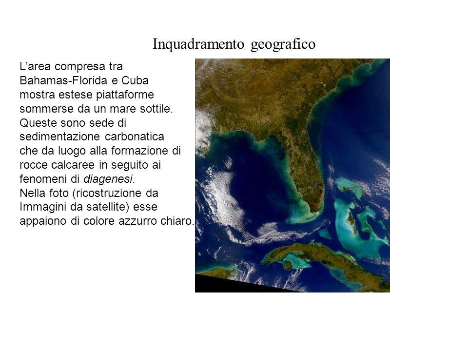 Inquadramento geografico Larea compresa tra Bahamas-Florida e Cuba mostra estese piattaforme sommerse da un mare sottile. Queste sono sede di sediment