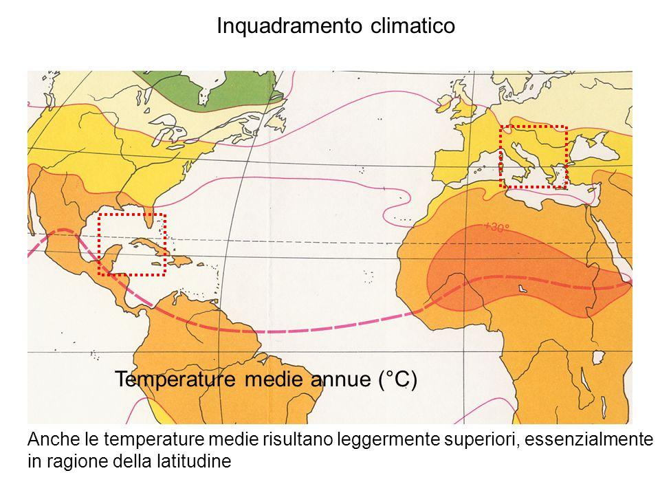 Inquadramento climatico Temperature medie annue (°C) Anche le temperature medie risultano leggermente superiori, essenzialmente in ragione della latit